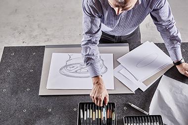 Die Designskizze zu Beginn der Produktentwicklung