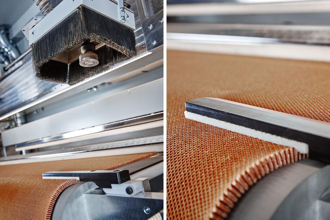 Offene Wabenplatten ohne Deckschicht maschinell zu bearbeiten ist aufgrund der fehlenden Festigkeit und der offenen Struktur eine Herausforderung.