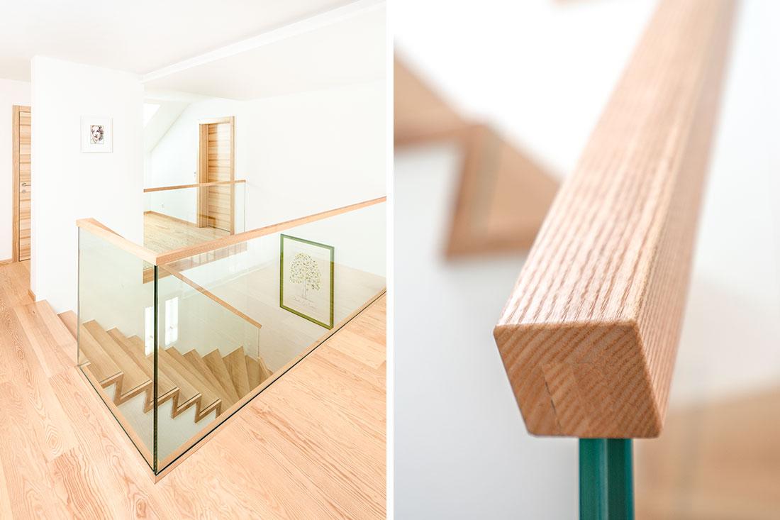 Treppenhaus aus Massivholz (Kernesche)